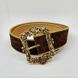 Etro Suede Etched Gold Buckle Belt
